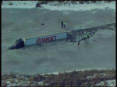 California Truck Accident  semi-truck veers off road and falls thru ice. Sucks.