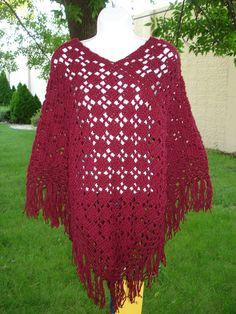 Poncho Shawl  Hand Crocheted  Style Retro by ToppyToppyKnits, $50.00