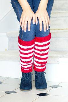 Adult Candy Cane Leg Warmers Crochet Pattern via Hopeful Honey