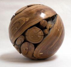. wood ball, wood sculpture, wooden ball