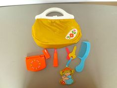 Fisher Price Vintage My Little Purse #128 Compact Comb Lipstick Lid Keys - had this