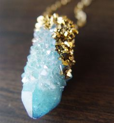 Spirit Quartz Druzy Gold Dipped Necklace