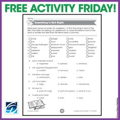Nothing is more right than a FREE activity on a Friday! Use this activity to find what's wrong in each question.