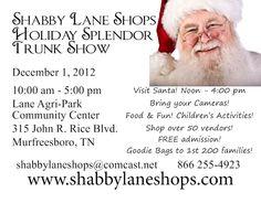 Shabby Lane Shops - Visit us December 1st in Murfressboro!, Santa, balloons & lots of shopping! Over 60 vendors!