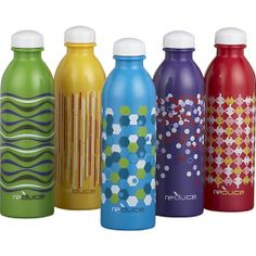 Fill this colorful set of graphic water bottles in BPA-free plastic for a week's worth of water on the go, or a quick grab for the whole family!    Set of 5 WaterWeek Bottles | Crate and Barrel