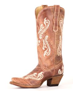 Women's Tan Brown Cortez/Cream Fleur de Lis Boot - R1974