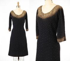 1960s dress/ 60s beaded dress/ knit