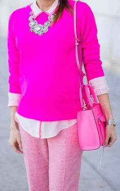 fashion, statement necklaces, perfect pink, style, pink outfit, pink pants, pink shirt, shoulder bag, hot pink
