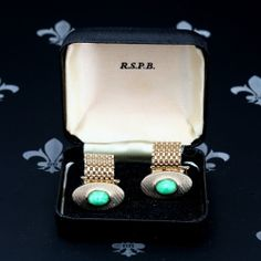 RSPB Vintage Gents Gold Mesh Wraparound Cufflinks Green Stones Original Box