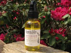 Geranium & Argan Oil Facial Serum. I really love this blend! It has a pleasant floral, woodsy, earthy aroma, absorbs quickly and easily into skin, and is rich and nourishing.