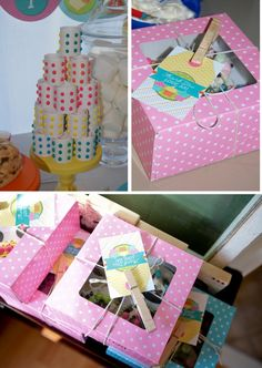 candy dot tower, and great cupcake favor box w clothespin