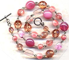 The Rose is a Rose Treasure Rare Czech Glass Necklace, Pink Necklace, handmade jewelry by AnnaArt72. 35.00