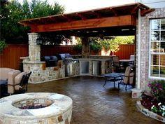 fire pits, kitchen idea, outdoor living, dream, outdoor space, outdoor kitchens, patio, outdoor live, backyard