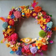 """Attic 24's beautiful Easter Wreath...there's links to the patterns for all the """"parts""""!"""