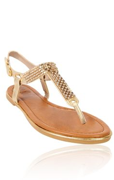 Deb Shops #gold t-strap #sandal with mesh and stones