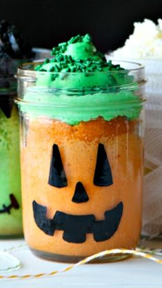 Halloween Themed Mason Jar Mini Cakes ~ Frankenstein, Jack-O-Lantern and Mummy... easy to make and only require a few materials!