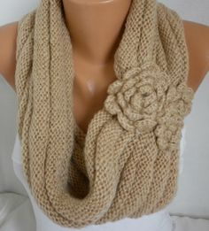 ON SALE - Camel Knit Infinity Scarf Shawl Circle Scarf Loop Scarf Gift Beige Scarf - fatwoman - chunky infinity scarf for her