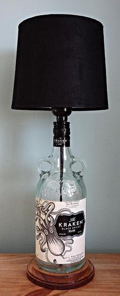 The Kraken Black Spiced Rum Liquor Bottle Lamp by LicenseToCraft, $35.00