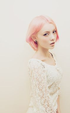 Pastel pink short hair