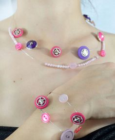 Pretty in Pink Wedding Day Buttons Jewelry Set by theELEPHANTpink, $19.00