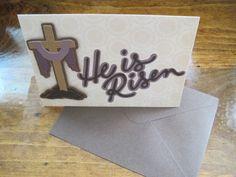 Handmade Easter He is Risen 5x7 card Cross by PaperGoodsByBecky, $1.99