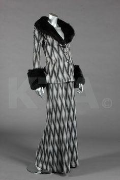 A Biba zig-zag tapestry weave jersey trouser suit, circa 1973.