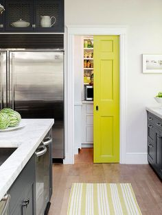 Painted Doors, striped rug, grey cabinets
