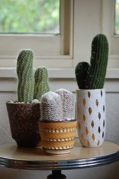 Vintage Collection of handknit cactus by Odds and Ends Handmade on etsy. Cute!