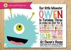 Printable Little Monster Invitation - Boy or Girl Monster Invite DIY - monster birthday invitation party child children
