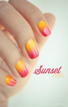 Gradient sunset nails nails