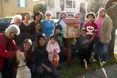 Linda Davis. Berkeley, CA. Our neighborhood has lots of young children and families that will enjoy this easy book exchange. The neighbors all contributed time, energy, materials and enthusiasm for this project. We had a lovely party with tea & cookies, balloons & poems the day we inaugurated the library. Also, poems will be available to visitors to the library when they check for books to take or leave.