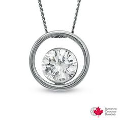 1/2 CT. Certified Canadian Diamond Solitaire Pendant in 14K White Gold (H-I/I2) - Necklaces - Zales