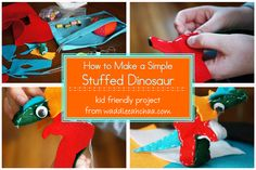 How to Make a Simple Stuffed Dinosaur: a kid friendly project from waddleeahchaa.com