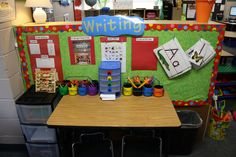 Check out this cute writing center! She used CTP's Jumbo Polka Dots border in her playful area.