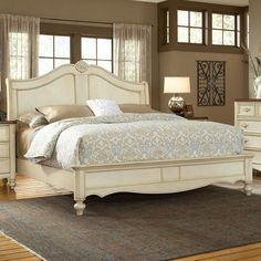 King 641.95 Lend elegant appeal to your master suite with this eye-catching bed, showcasing carved accents and an antiqued white finish.   Product: ...