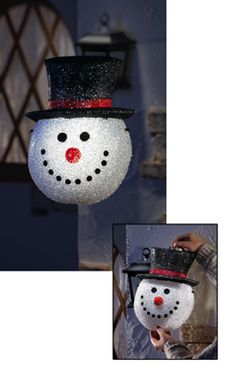 Snowman Head Decorative Holiday Porch Light Cover