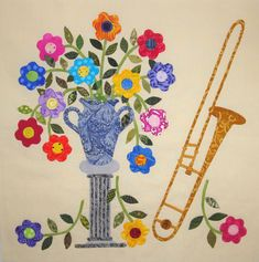 """Posie Vase Trombone, in: """"Baltimore Rhapsody"""":  a music-inspired Baltimore Album quilt by Teresa Yielding Rawson at Fabric Therapy Online."""