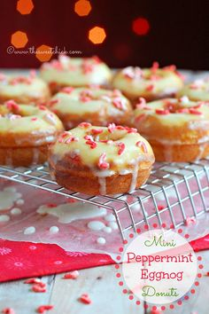 sweet chick, holiday dessert, food, peppermint eggnog, minis, yummi, eggnog donut, christma, mini peppermint