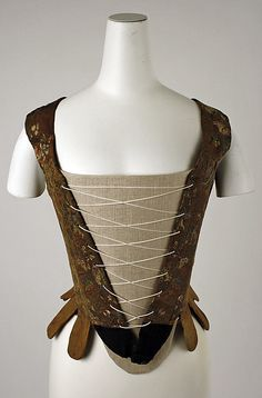 Mid 18th century silk Italian stays, laces up the front and back.