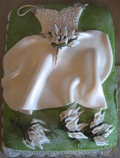 Bridal Shower Cakes | bridal shower cake with wedding dress and bouquet.jpg