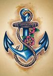 I've wanted a tattoo for some time...and being that I am obsessed with pirates, I thought an anchor to be fitting.  After my grandpa passed away this January, I found it especially fitting...because he was in the navy.  (I will skip the flowers, though.) tattoo ideas, anchors, color, old school, anchor tattoos, tattoo patterns, flowers, design, ink