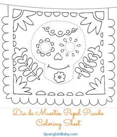 Free Día de Muertos Papel Picado Coloring Sheet {Printable} Day of the Dead
