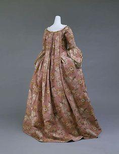 "Pink floral dress ""A la Française"" (Back), 1750-75.    Silk."