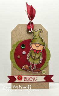 Christmas gift tag, the alley way stamps, toyland, chill out, elf