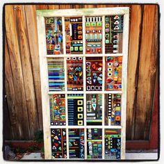 Abstract Art Vintage Fused Glass Window. QUE TAL FAZER DAS PORTAS DOS ARMÁRIOS, O MOSTRUARIODE CORES E MODELOS? COOL !!