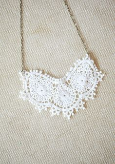 """Simply Mine Crochet Indie Necklace 28.99 at shopruche.com. Delicately crocheted white detail lends the perfect touch of charm to this vintage-inspired necklace. Indie made.14"""" long"""