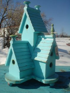 Birdhouses in pretty aqua
