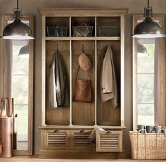 Mudroom storage solutions, hallway storage, mudroom, restoration hardware, mud rooms, cubbi, restorations, lockers, entryway