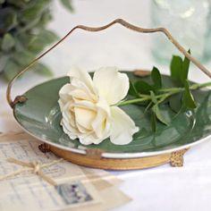 Vintage Brass Handled Green Serving Plate