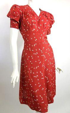 early 40s burgundy rayon swing dress, DCV